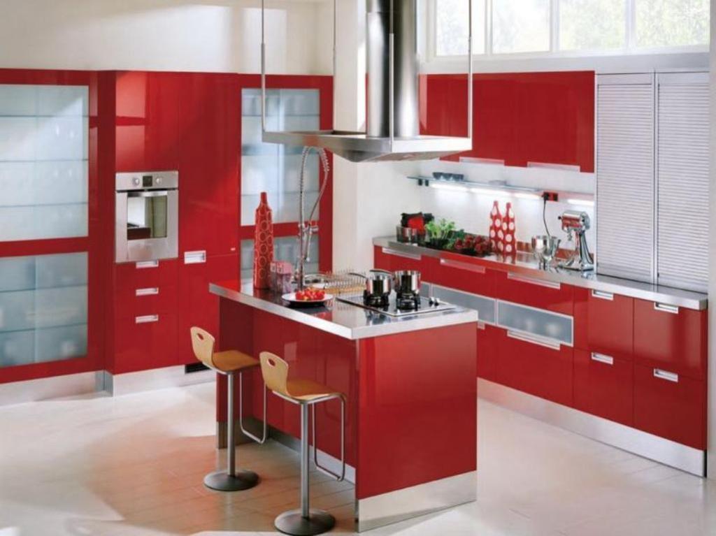 modern-red-kitchen-cabinets