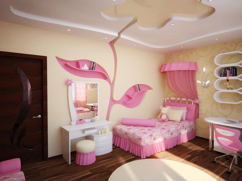 Розово-желтая детская