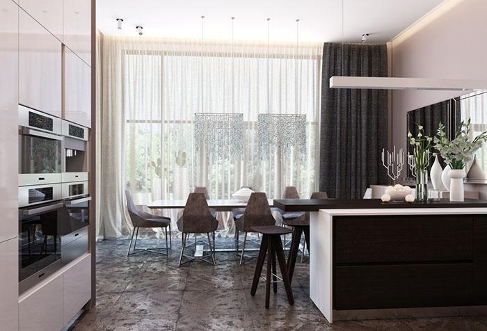 Занавески в кухне-столовой с одной портьерой