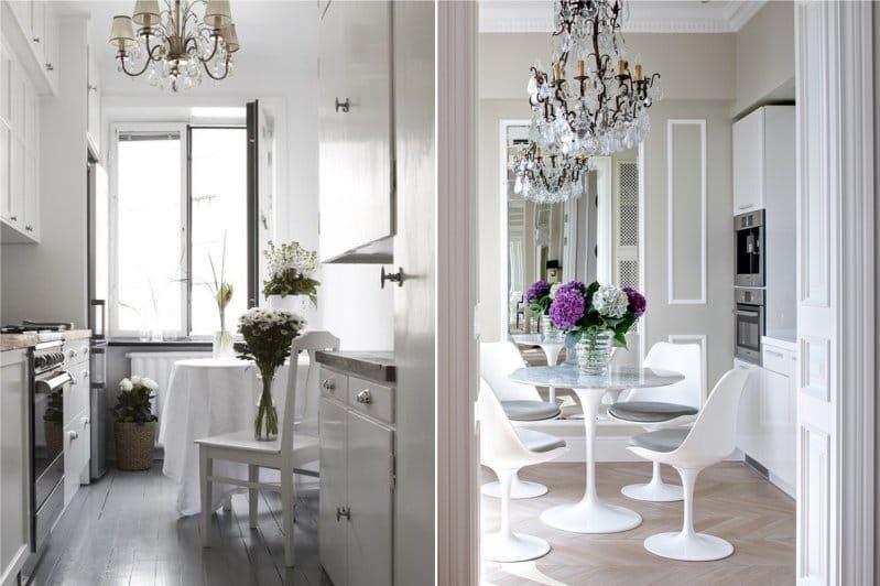 Интерьер кухни 9 кв. м в светлой гамме в классическом стиле