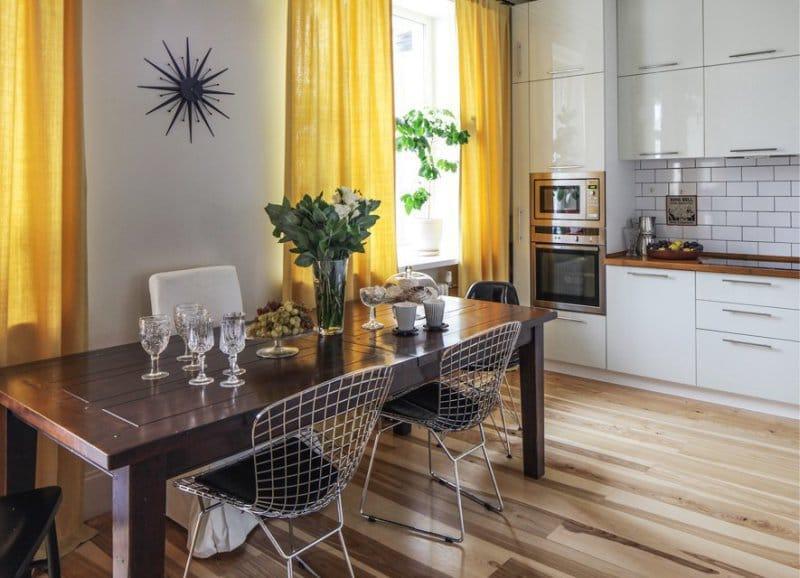 Кухня 9 кв. м, объединенная с гостиной