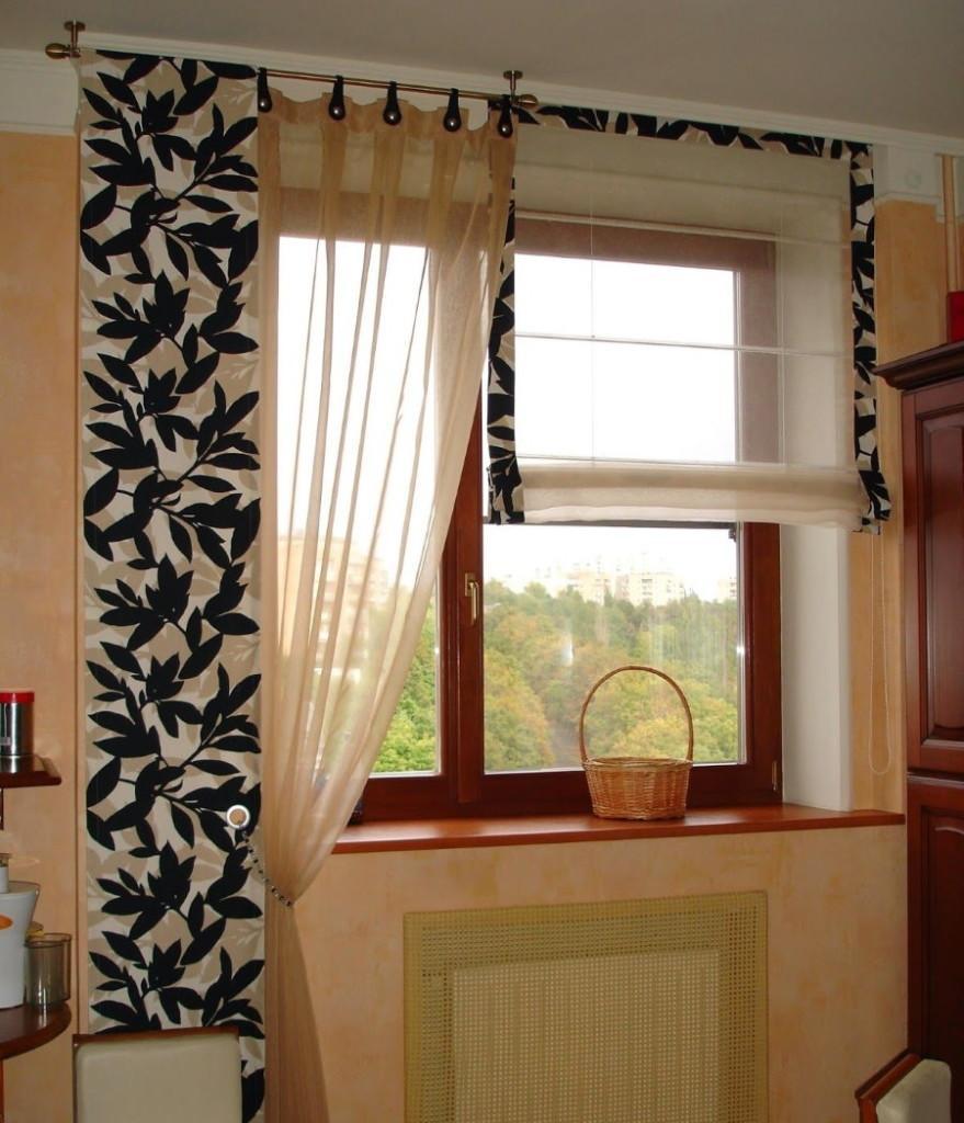 Самодельные шторы на одну сторону кухонного окна