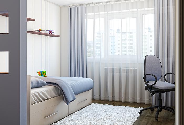 Длинные шторы в комнате подростка