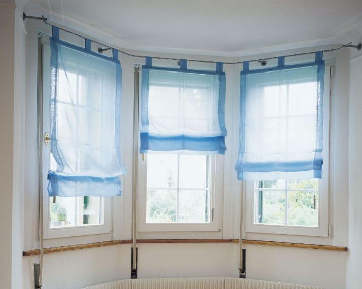 шторы на липучках синего цвета