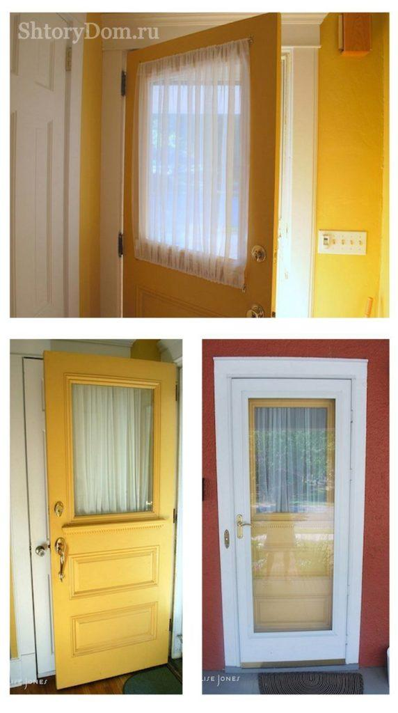 Идеи декора входной двери тканью