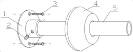 Такой принцип крапления обычно используется для карнизов, прикрепляемых на противоположенных стенах (1-кронштейн, 2-фиксирующий винт, 3-саморез, 4-декоративный колпак, штанга).