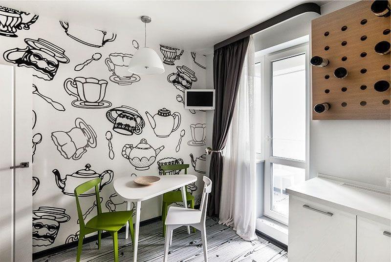 Декоративный шинный карниз в интерьере кухни