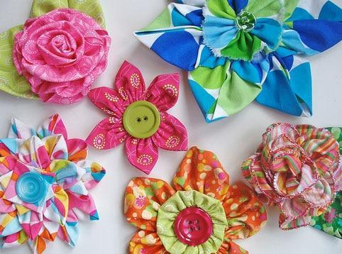 самодельные цветы из ткани
