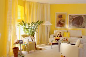 шторы в интерьере маленькой гостиной