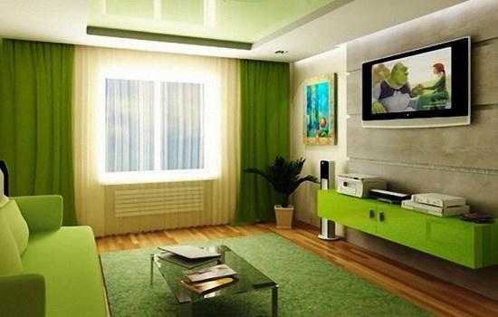 Какие шторы сочетаются с зелеными обоями