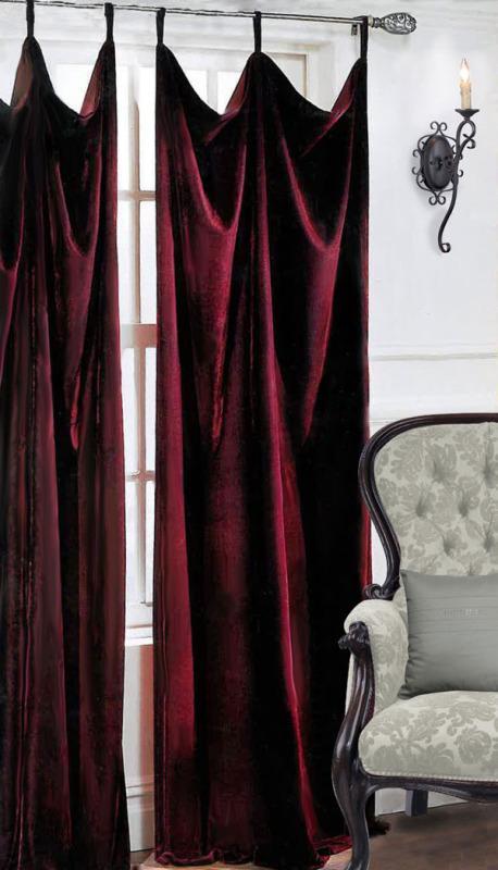 Темно красные шторы гостиная