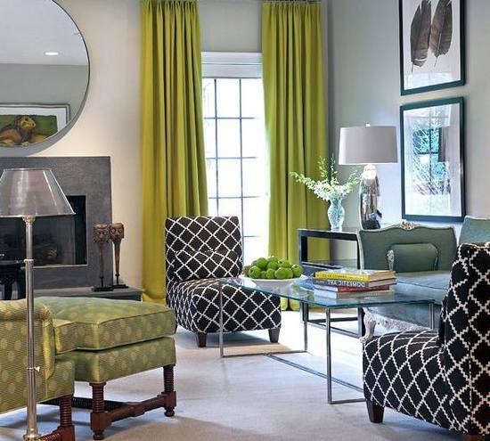 Оливковые шторы с чем сочетать в интерьере