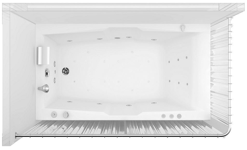 Угловая шторка для ванной — вид сверху