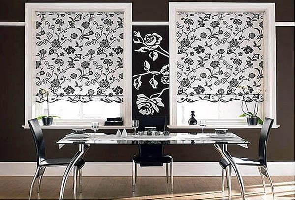 Рулонные шторы с монохромным рисунком