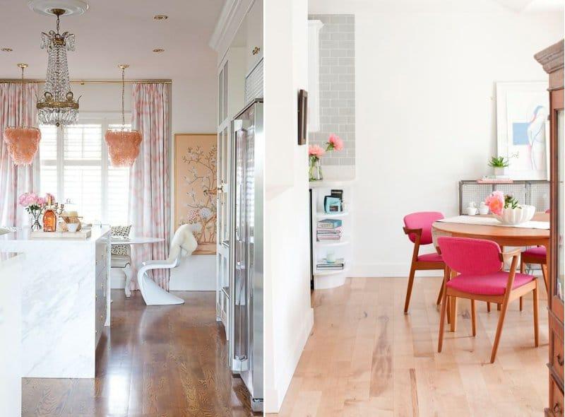 Розовый и коричневый цвет в интерьере кухни