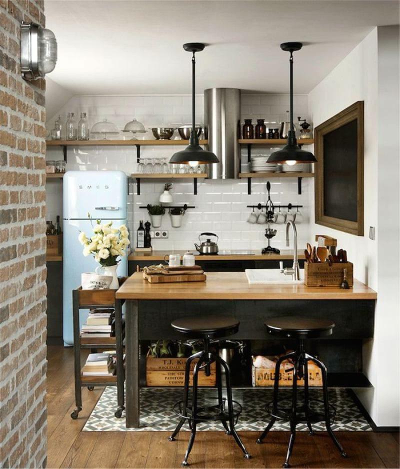 Кухня в коричневых тонах в стиле лофт