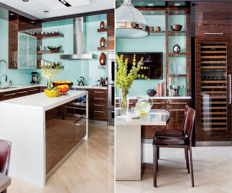 Коричневый и голубой цвет в интерьере кухни