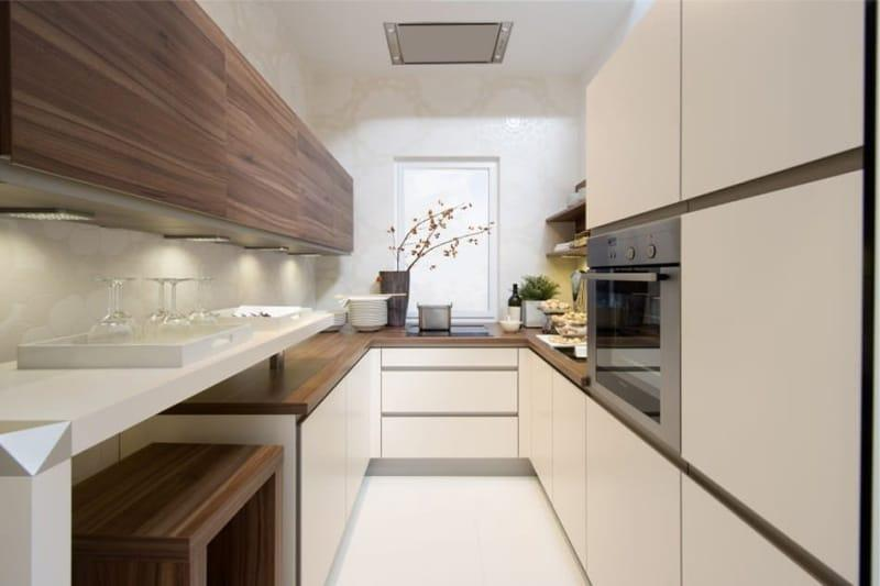Ванильный оттенок и коричневый цвет в интерьере кухни