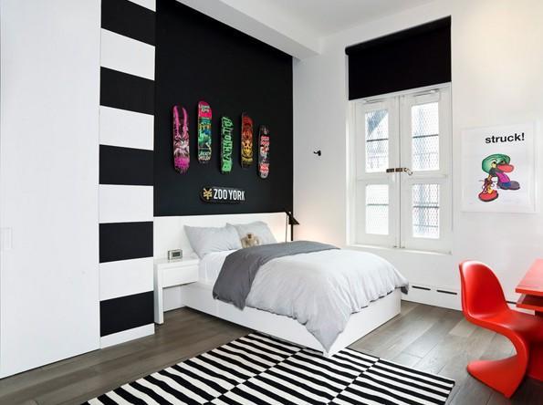 Черно белое оформление комнаты