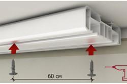 Схема крепления карниза для штор к потолку