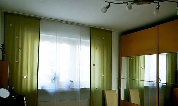 японские шторы своими руками, интерьере спальни