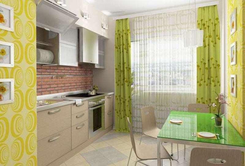 светло зеленые шторы и желтые стены