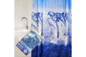 Штора для ванной PEVA10 LUX 180х180см с кольцами `Дельфины`. Артикул: PEVA10