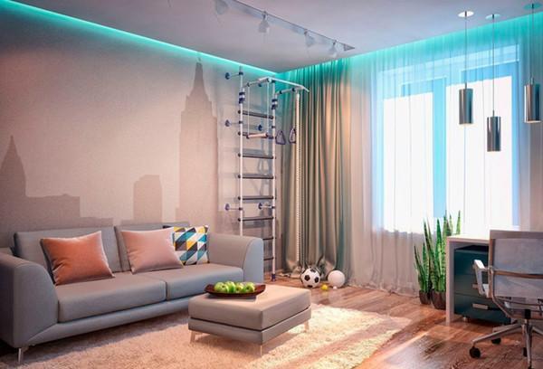 Дизайн интерьера с расположением карниза и подсветки в нише натяжного потолка