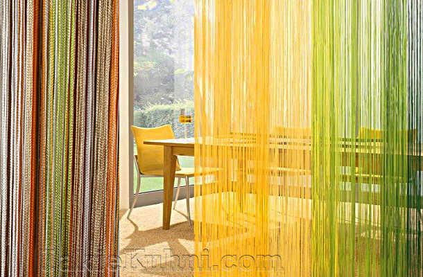 Радужные нитяные шторы