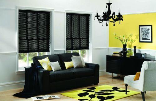 Римские шторы в черно-сером цвете