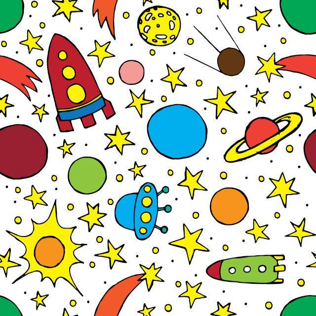 Детский фон для рулонной шторы - Звезды и ракеты