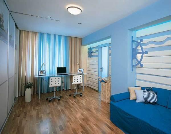 Комната подростка в сочетании синих и бежевых оттенков