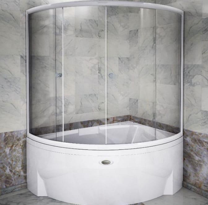 раздвижная стеклянная шторка для ванной