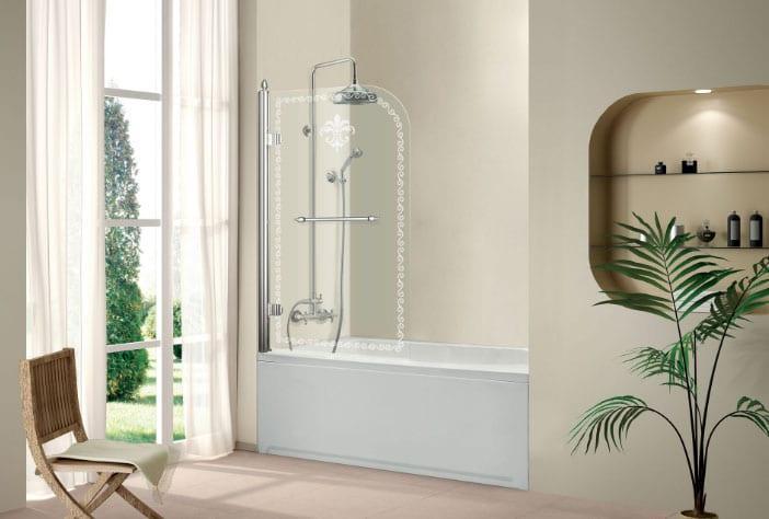 стеклянная шторка с узором для ванной