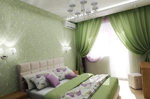 Комната в зеленых обоях