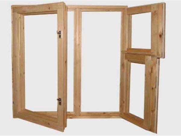 Конструкция окна с двумя отрывными створками и форточкой