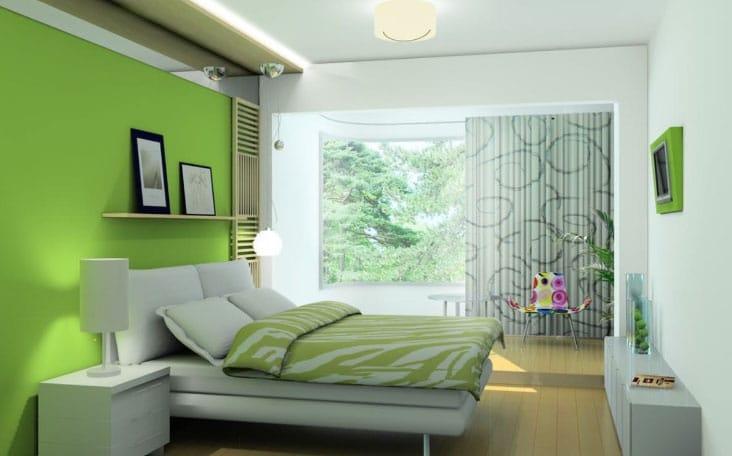 белые шторы в комнату с зелеными обоями