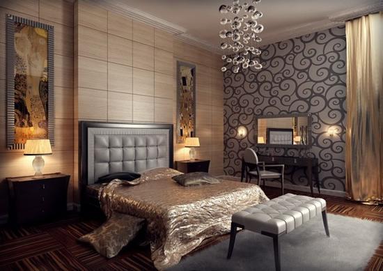 Шторы в стиле арт-деко в интерьере спальни