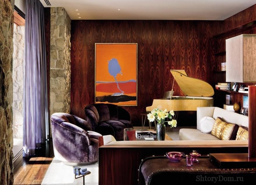 Шторы в стиле арт-деко в интерьере гостиной