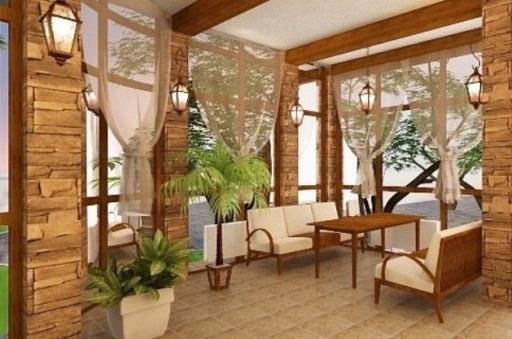 Декоративные шторы на веранде