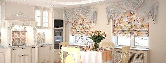 Элегантное оформление кухни римскими шторами