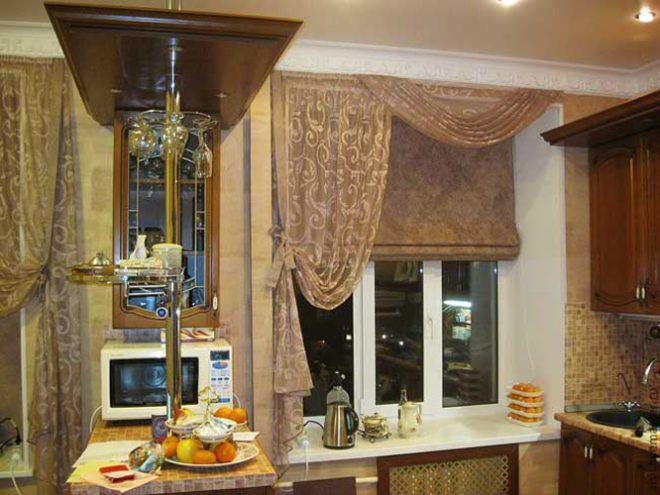 Дизайн римских штор для кухни