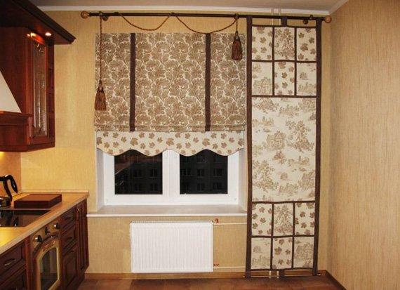 Дизайн римских штор в шоколадном оттенке