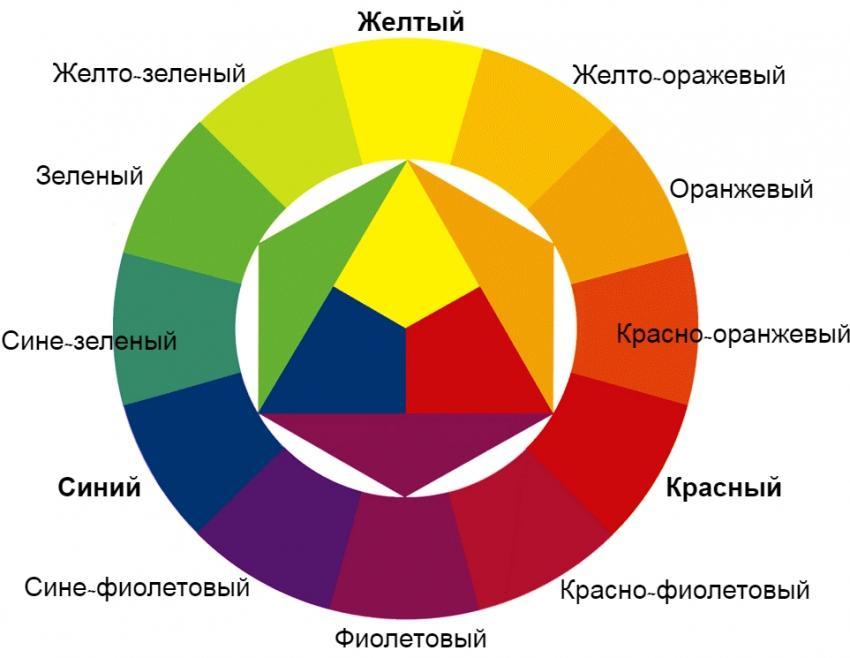 Цветовой круг сочетания цветов и правило комбинации основных и вторичных оттенков