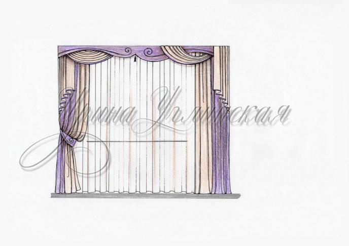 эскизы штор, рисунки