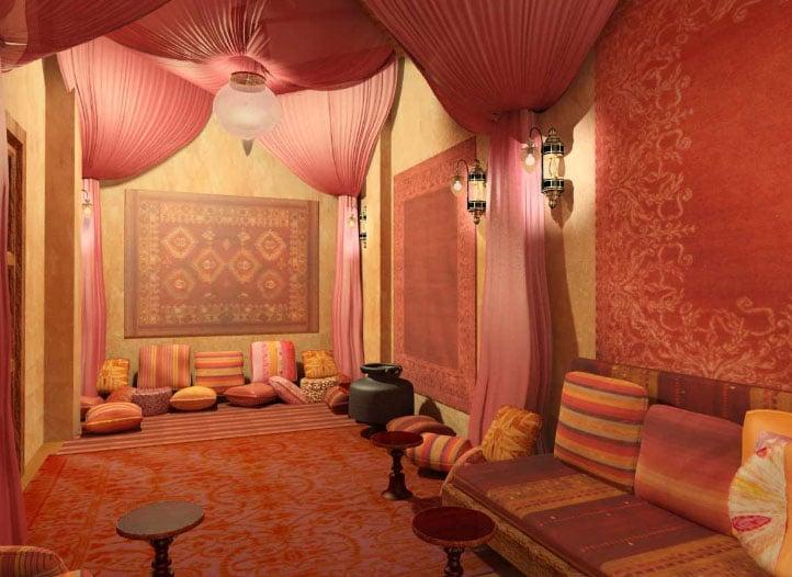 эксклюзивные шторы в интерьере восточной гостиной