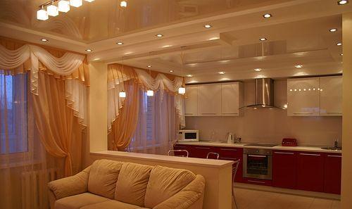 шторы в кухне-гостиной
