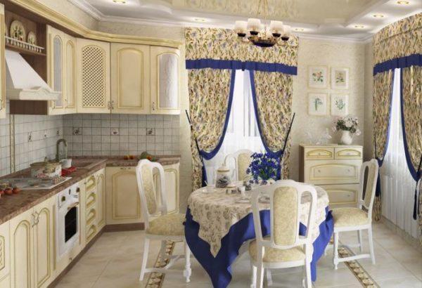 Нестандартные виды покрытия стен, например, жидкие обои или металлические требуют такого же рисунка и на занавесках.