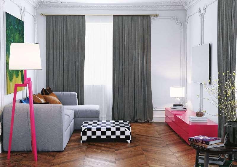 Портьеры в пол для маленькой комнаты
