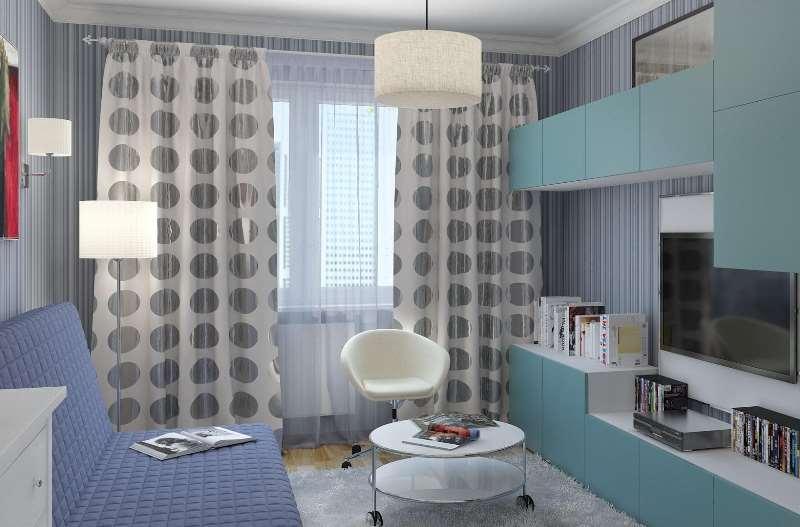 Легкие шторы в крупный горох в интерьере голубой гостиной